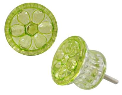 Floral Circle Glass Knob, Green,