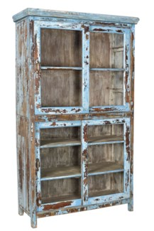 RM-33567 - Vintage Multi-Shelf Cabinet Distressed Blue, 49x18x85 Inches