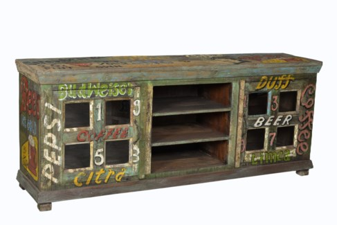 RS-27171 Vintage Replica Console,Mango Wood, Green w/ text, 67x16x28 inches