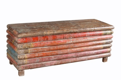 RM-27957 Vintage Replica Chest,Mango Wood, Multi Coloured 54x18x21 inches