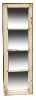 RM-24495 Vintage 4 panel Mirror, Teak wood frame, Various, 16.5x50 inches