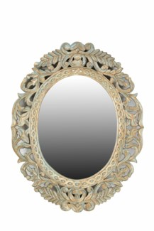 RS-39579 Vintage Replica Carved Mirror,Mango wood, White, 28x1x37 inches