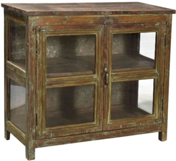 Vintage Horizontal 8 Pane Cabinet, Natural, 35x15x31 Inches