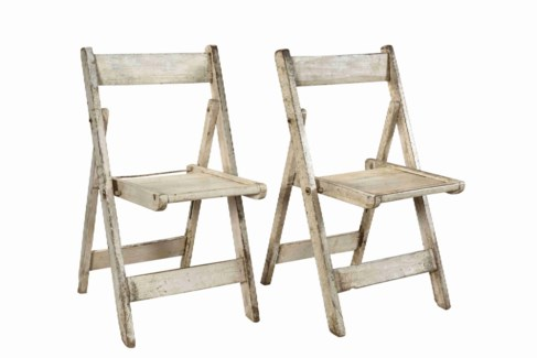 RS-40999 -Vintage Folding Chair White, 18x17.5x33 Inches