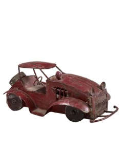 RM-32547 - Vintage Iron Toy Jeep  Maroon, 5.1x10.2x4.5 Inches