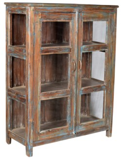 RM-33032 - Antique Wood Cabinet, Brn - 37.1x15.4x51.6 inches