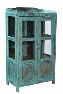 RM-33752 Vintage 4 Pane Wood Cabinet, Teal, 28x14.5x49.6