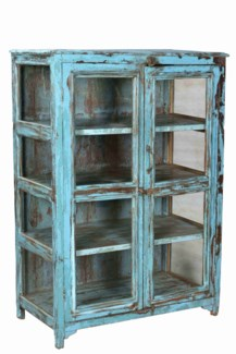 RM-33957 Vintage 2 Door Wood Cabinet, Blue, 35.8x18.1x49 Inches