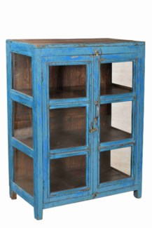 TC-NB-1450 Vintage 3 Pane Wood Cabinet, Blue, 29.9x15.7x39.7 Inches