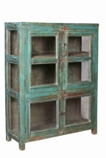 TC-NB-1450  Vintage 6 Pane Wood Cabinet, Dark Green, 40x15.7x53 Inches