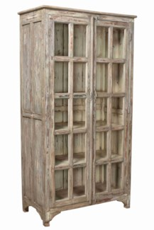 TC-NB-1456  Vintage 2 Door Wood Cabinet, Distressed, 40.5x18.5x75.5 Inches