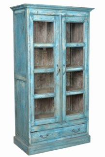 IT-DG-070 Vintage Wood Cabinet w/  Drawer, Blue, 39x18.5x70 Inches