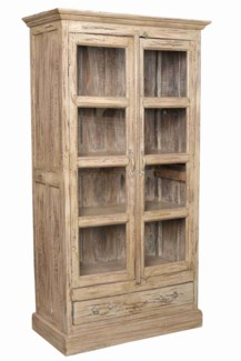 IT-DG-070 Vintage Wood Cabinet w/ Drawer, Cream, Medium, 36.6x16.9x67.7 Inches