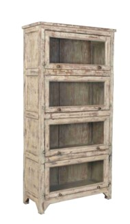 Vintage  Wood Bookshelf Cabinet, Distressed, 35.8x16x72 Inches