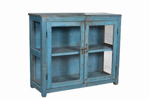 Vintage Side Cabinet, Blue, 42.9x15x35 Inches