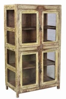 Vintage 2 Door Wood Cabinet, Distressed, 30.7x16.5x52.7 Inches