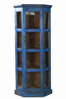 TC-NB-1449 Vintage Corner Cabinet, Dark Blue, 29.2x21.7x70.9 Inches