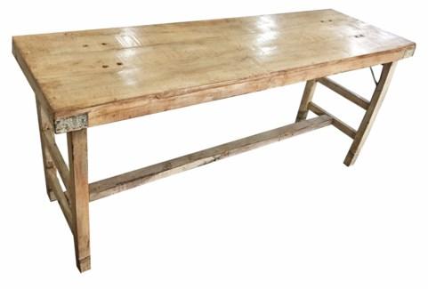 Vintage Folding Console Table, Cream Finish, Medium, 67x22x30 Inches