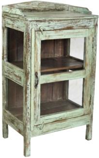 Side Cabinet. 2 shelf 1 glass Door. Side Windows. Wooden. Distressed Light Turquoise. Old Original O