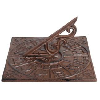 Sundial Zodiac. Cast iron. 26,3x26,3x13,5cm. oq/6,mc/6 Pg.95