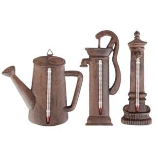 Thermometer can/pump/fountain ass. Cast iron, glass, kerosine. 16,9x2,0x15,0cm/6,5x3,4x19,6cm8,8x1,