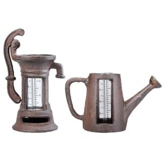 Rain gauge watering can/pump ass. Cast iron, glass. 16,5x7,8x9,8/10,5x8,0x17,4cm. oq/6,mc/18 Pg.95