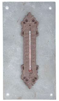 Thermometer on slate. Slate, metal, glass, kerosine. 10,0x2,6x26,3cm. oq/8,mc/8 Pg.95