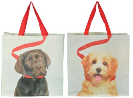 Shopping bag dog on leash ass. PP Woven fabric, polyester. 39,0x14,0x39,0cm. oq/24,mc/96 Pg.118