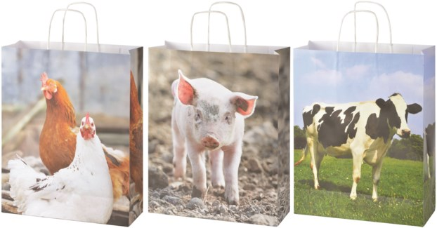 Paper bags farm animals L ass. - (12.6x4.7x19.7 inches)