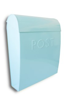 Sylvia Large Euro Mailbox Light Blue, Galvanised 12 x 5.25 x 15 inches