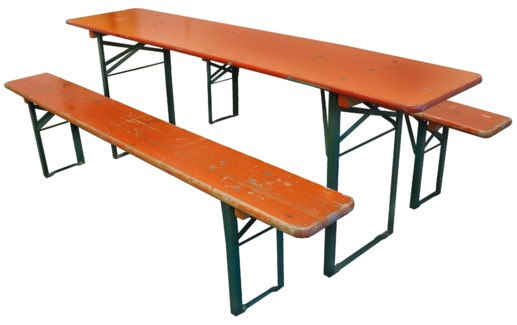 Vintage German Beer Hall Table with 2 Benches *Product Varies* -  Bench: 86Lx10.5Wx19H. Table: 86.5L
