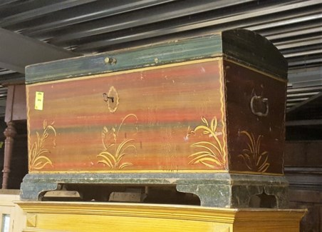 Antique German Painted Trunk, From Germany 1880 On Sale 30% off