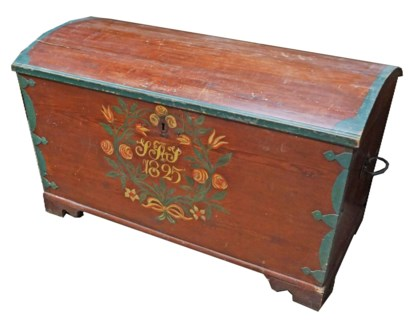 Antique German Painted Trunk, From Germany 1825