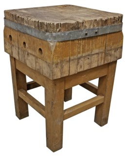 1870 France Butcher Block Table 20x20x30 inch