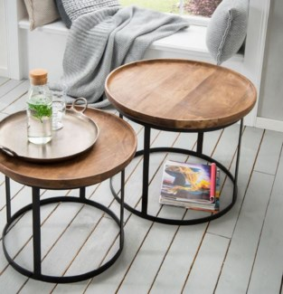 Cameron Side Table Set/2, Wood & Iron L: 24x24x20 S: 20x20x18 in