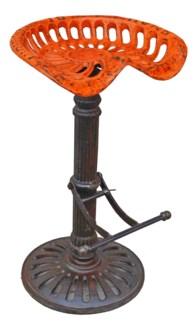 Steampunk Bar Stool, Orange, 19x16x32 inches