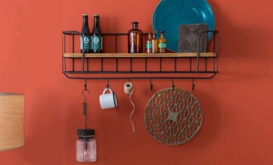 Industrial Kitchen Shelf w/hooks, 31x8x16 inches