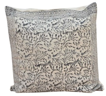 Lizzie Flora Print Cushion, Grey/White 20x20