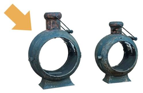 Round Lantern, L, Blue/Gry, 19x10x18 inches