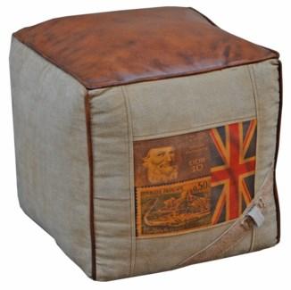 Union Jack Pouffe, Leather/Canvas, 16x16x16 inches