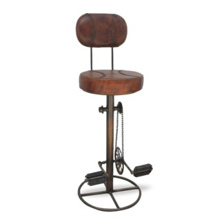Bicycle Peddle Backrest Stool w/ Foot Rest 17x17x46