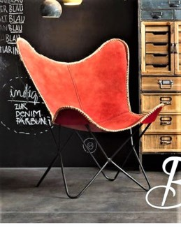 Butterfly Chair, Red Denim, 27x28x37 inches
