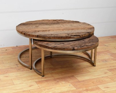 Circlular Nesting Coffee Table Set/2 L:35.4x16, S:27.5x13in.