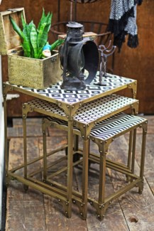 Yves Patterned Top Nesting Table, Set/3, Antique Gold Base, Small (16x14x17), Medium (18x16x20)