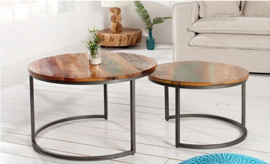 Nesting Coffee tables recycled wood, Set/2, L: 29.5x19.5x29.5 inches S: 23.5x16x24 inches