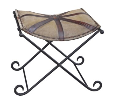 Old English Stool, Canvas/Leather, 20x19x18 inches On sale 25 percent off