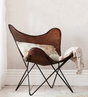 Leather Butterfly Chair, Brn w/ Black legs, 27x28x37 inches
