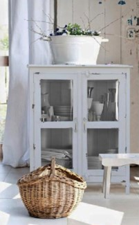Shabby Chic White Wooden Cabinet 2 dr 28.7x15.7x41.3inch.