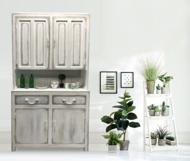 Kitchen Cabinet, Antique White (hand painted by artist Maryam Zinati), 43x16x79 inches