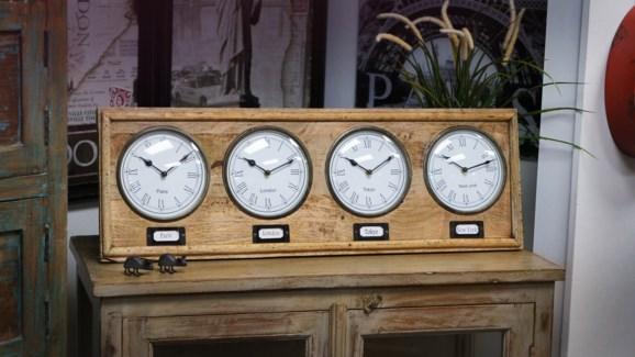 World Wall Clock Panel, Natural, 18.1x1.18x9.84